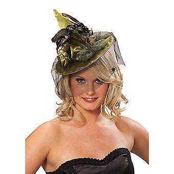 Cappello strega con piume verde capelli clip