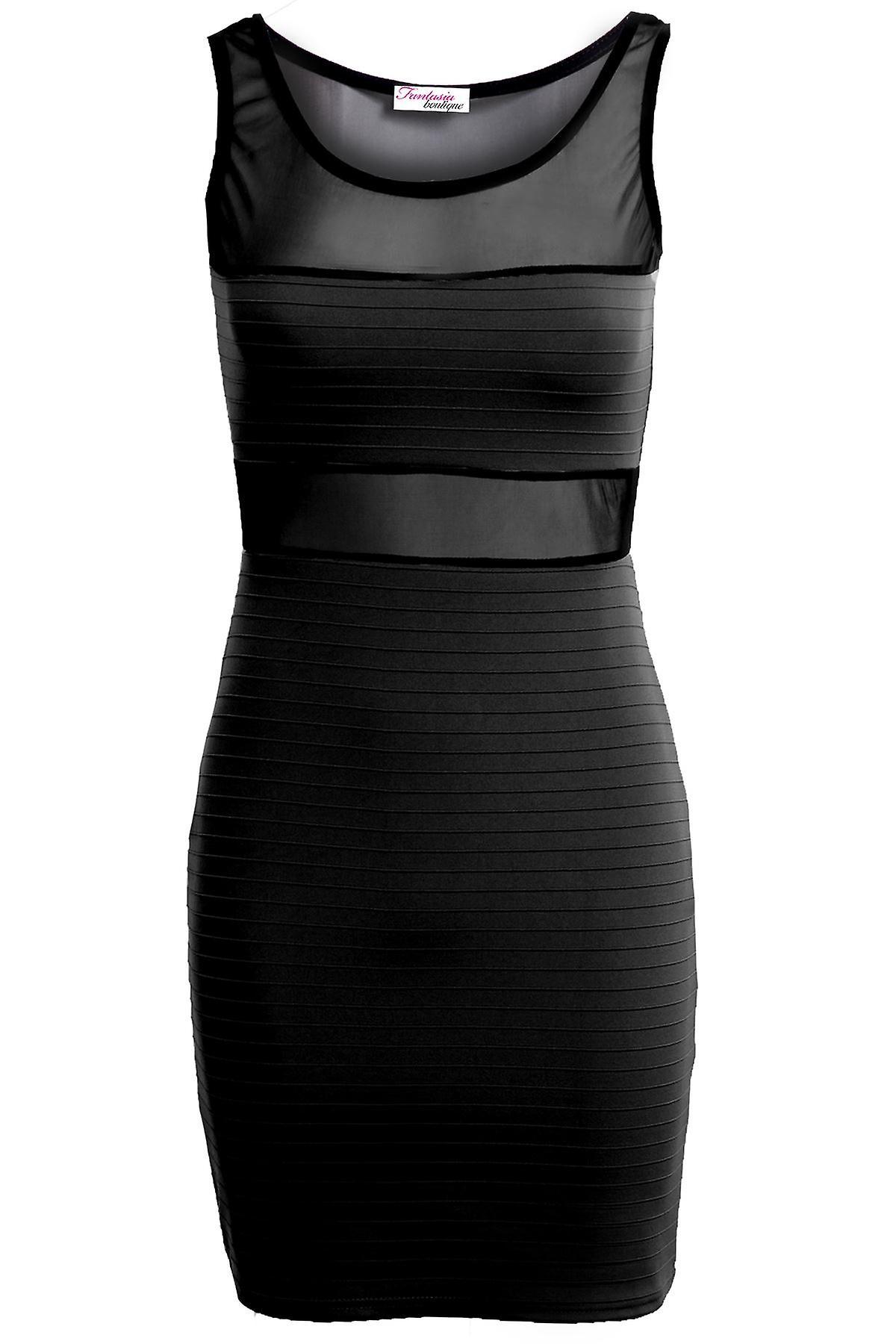 New Ladies Sleeveless Mesh Ribbed Contrast Women's Bodycon Dress