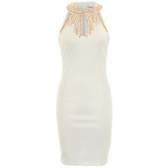 Senhoras sem mangas cortadas na frente jóia frisada alta pescoço curto Bodycon Dress