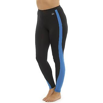 Ladies Tom Franks Two Tone Sport Gym Leggings Fashion MED-Blue