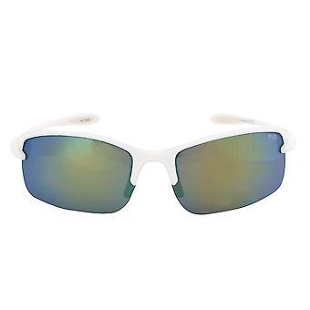 Fila Sport FAC1043 109 rektangulær flyt solbriller | Hvit ramme | grå speil linse