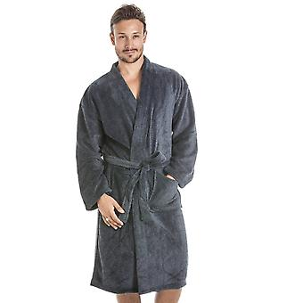Camille Mens Supersoft Fleece grau und schwarz, Bademantel