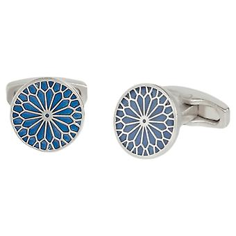 Simon Carter Stained Glass Enamel Flower Cufflinks - Navy