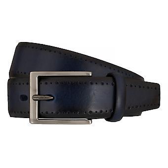 Correa correas de hombres LLOYD cinturones de cuero cuero completo, 7591/azul marino