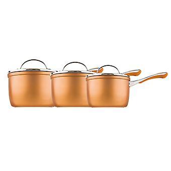 Prestige Prism 3 Piece Saucepan Set, Copper