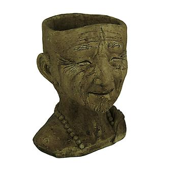 Designer Stone Driftwood Grey Monk Head Concrete Planter