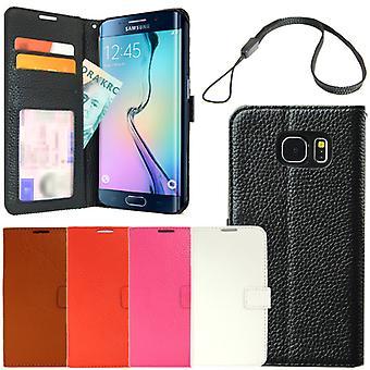 Echtes Leder Tasche Brieftasche Samsung Galaxy S6 Edge ID/FotoTasche