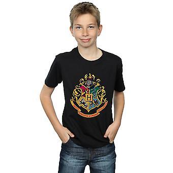 Harry Potter Boys Hogwarts Crest Gold Ink T-Shirt
