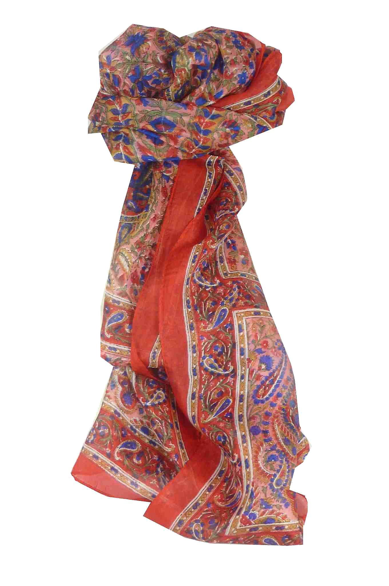 Mulberry Silk Traditional Long Scarf Purna Red by Pashmina & Silk
