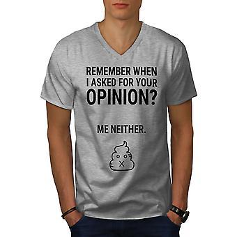 Sarcastic Opinion Joke Men GreyV-Neck T-shirt | Wellcoda