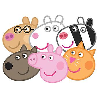 Peppa Pig Card Fancy Dress Mask Sæt med 6 (Peppa, Candy, Danny, Suzie, Pedro og Zoe)