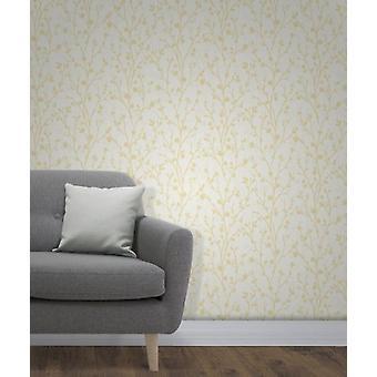 Elegante Twiggy zijwand gele Wallpaper wandversiering 0.52 m x 10.05 m
