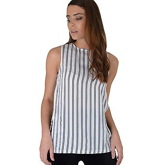 Lola May White Top With Black Stripes, Open Sides & Zip Detailing