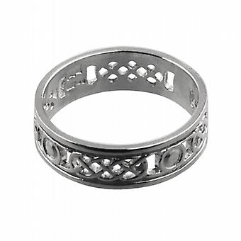 9ct White Gold 6mm pierced Celtic Wedding Ring Size Z
