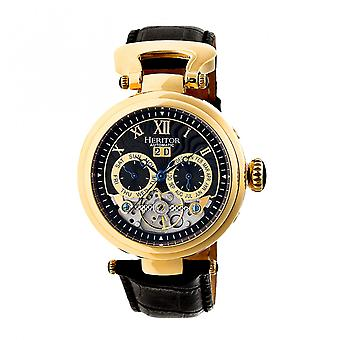 Heritor Automatic Ganzi Semi-Skeleton Leather-Band Watch - Gold/Black