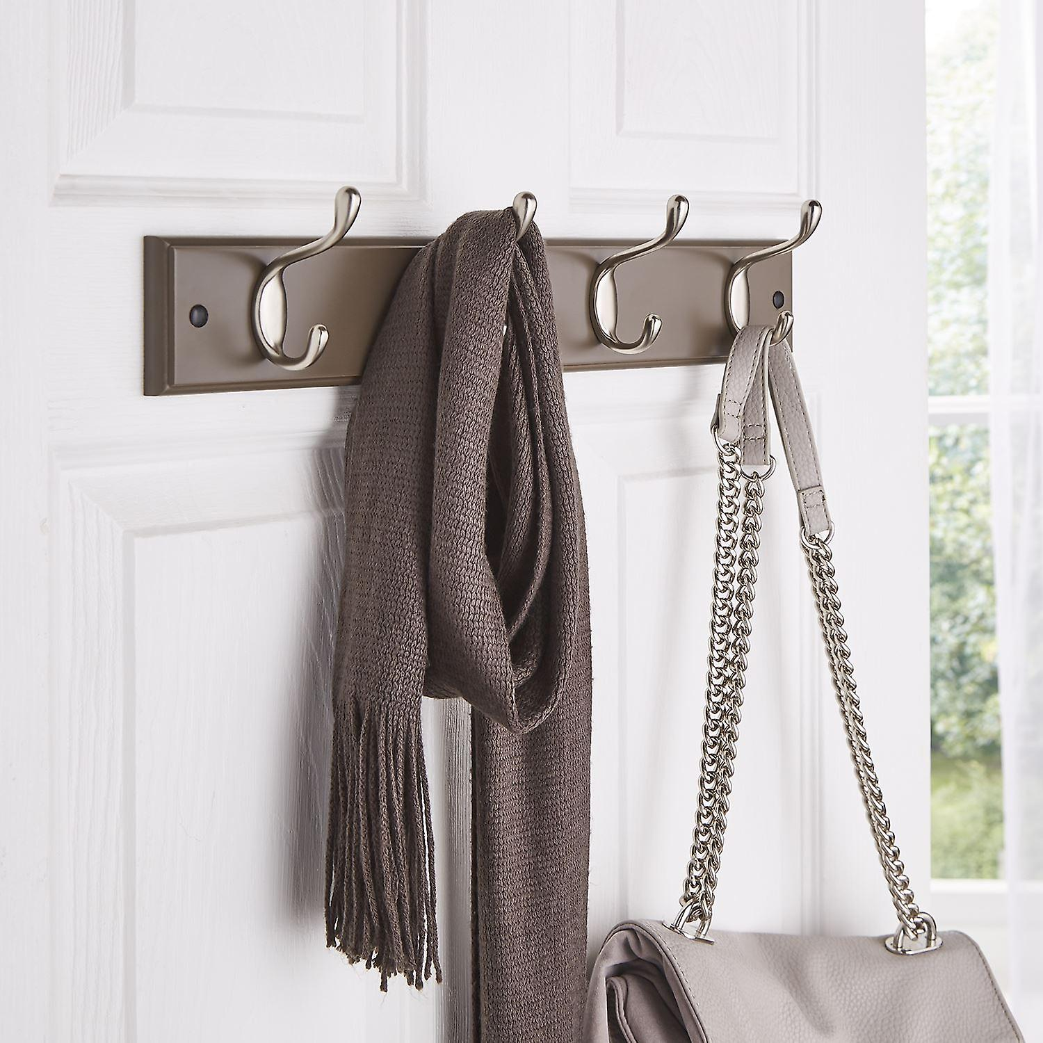 Quality Heavy Duty 4 Double Coat Hooks Wall Or Door Mountable Espresso Wooden Board With FREE Fixings