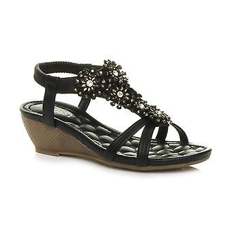 Womens Ajvani milieu wedge talon fleur diamante t-bar slingback strappy sandals