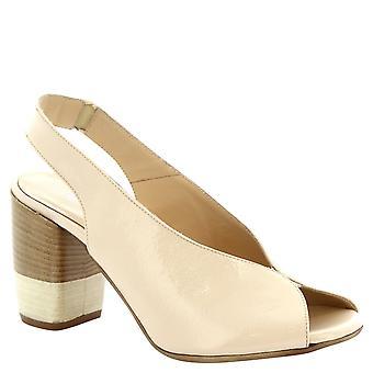 Leonardo Schuhe Frauen handgemachten Sandaletten in Creme glänzende Kalbsleder