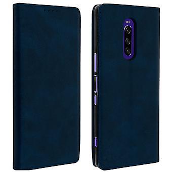 Sony Xperia 1 caso titular do cartão stand silicone caso Midnight Blue