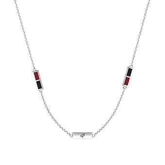 Arizona Coyotes Sterling Silver Engraved Triple Station Necklace In Red & Black