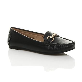 Ajvani Womens flache niedrige Ferse Schnalle smart Casual Work Mokassins Loafers Schuhe