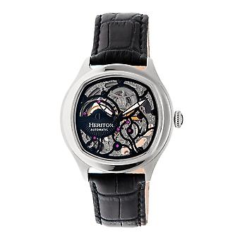 Heritor Automatic Odysseus Leather-Band Skeleton Watch - Silver/Black
