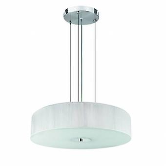 3 Light Ceiling Pendant Chrome, White With String Shade