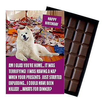 Samoyed Funny Birthday Gifts For Dog Lover Boxed Chocolate Greeting Card Present