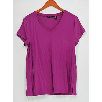H by Halston Womens Top Essentials V-Neck w/ Forward Seam Purple A306231 PTC