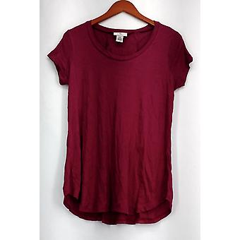 OSO Casuals Top Short Sleeve Lace Up Back Scoop Neck Pink Womens A408363