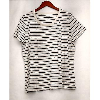 Mossimo Supply Co. XXL Striped Short Sleeve Tee White / Black Top Womens #3
