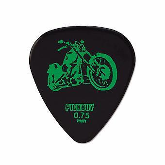 6 Pickboy Guitar Picks/Plectrums - Tattoo Harley Davidson - Black - Medium 0.75mm