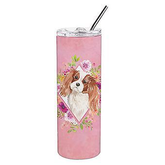 Blenheim Cavalier Spaniel roze bloemen dubbelwandig RVS 20 oz Skinn