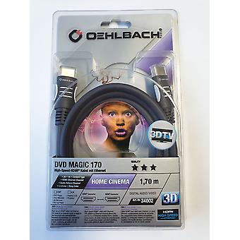 Oehlbach High Speed HDMI Kabel mit Ethernet 3 D 1,7 Meter DVD Magic 170
