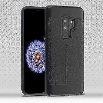 Black Leather Texture/Black Hybrid Protector Cover for Galaxy S9 Plus