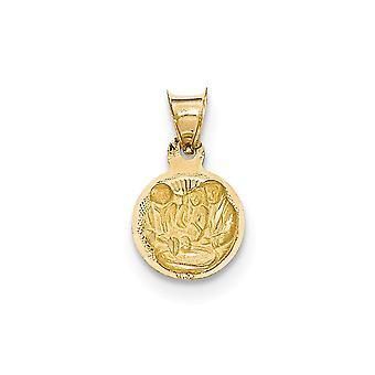 14k oro giallo lucido e Ciondolo cerchio battesimo Sparkle-Cut