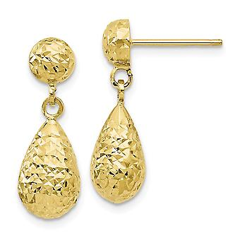 10k Amarelo Ouro Post Brincos Sparkle Cut Post Long Drop Dangle Brincos Joias Presentes de Joias para Mulheres
