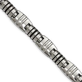 Edelstahl gebürstet und poliert schwarz Emaille Link Armband 8,25 Zoll Schmuck Geschenke für Frauen