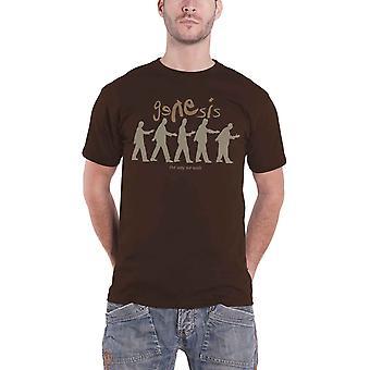 Genesis T Shirt The Way We Walk Group Shot Band Logo Official Mens New Brown