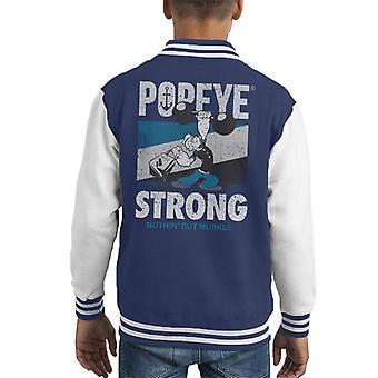 Popeye Barbell Nuthin But Muskle Kid's Varsity Jacket
