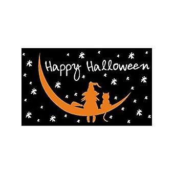 Glücklich Halloween Hexe & Katze Flagge 5ft x 3ft