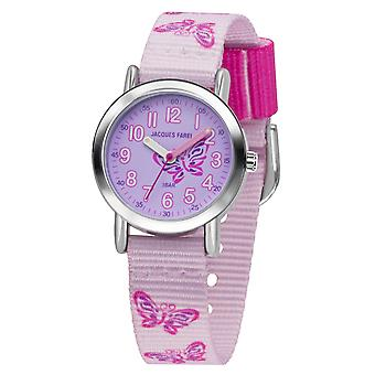 JACQUES FAREL Kids Wristwatch Analog Quartz Girl Textile Ribbon KPS 504 Purple