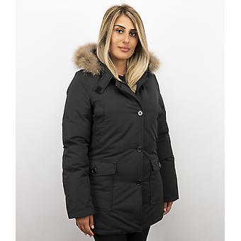 Fur coats - Wintercoat Wooly Lang - Fur Collar - Parka Stab bags - Black