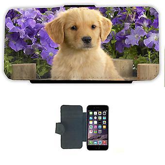 Puppy met bloemen iPhone 6/6s Case Wallet shell