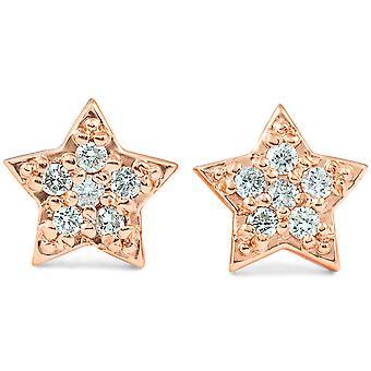 14K Rose Gold Diamond Pave Petite Star Studs Dainty High Polished 6.5MM