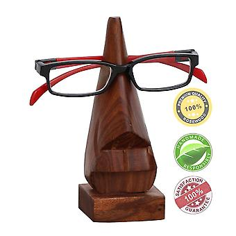 Hand Carved Wooden Nose Shaped Spectacle Holder, Brown