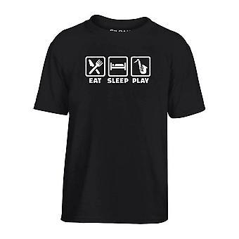 T-shirt bambino nero dec0067 eat sleep play saxophone