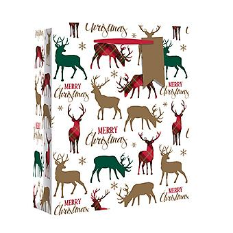 Eurowrap Wide Gusset Christmas Gift Bags with Tartan Stags Design (Pack of 12)