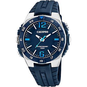 Visa Calypso STREET STYLE K5778-3 - 3AIGUILLES 46MM stål svart BEZEL svart armband blå harts man