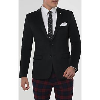 Avail London Mens Black Velvet Suit Jacket Skinny Fit